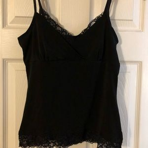 Stretchy & silky strappy black tank